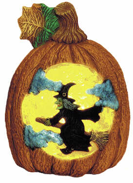 #1750 Witch on Pumpkin Scene  7 1-2
