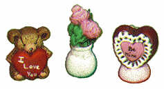 "#1761 Miniatures - Heart, Roses, Teddy with Heart  1"" each"