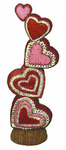 "#1835 Stack of Quilted Hearts  9"" X 2 1-2"""
