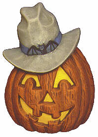 #2045 Pumpkins with Hats - Cowboy  5 1-2""