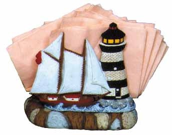 #2112 Lighthouse & Ship Napkin Holder (1 side only)