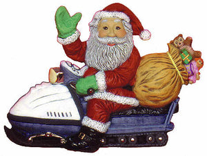 "#2178 Santa on Snowmobile  9"" X 6 1-2"""