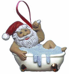 #2183 Ornament - Santa in Bathtub  3