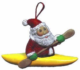 #2184 Ornament - Santa in Kayak  3 3-4""