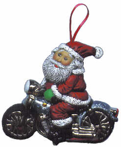 #2185 Ornament - Santa on Motorcycle  3""
