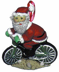 #2214 Ornament - Santa on Bicycle  3""