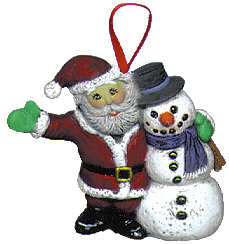 #2216 Ornament - Santa & Snowman Friend  3""