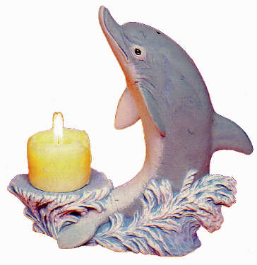 #2276 Dolphin with Candleholder  6 1-2