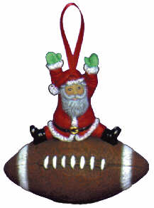 #2479 Sports Ornament - Santa Football  3