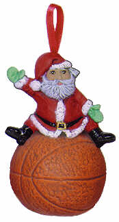 #2483 Sports Ornament - Santa Basketball  3
