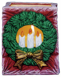 #2492 Christmas Bag - Wreath & Candles  4 1-4""