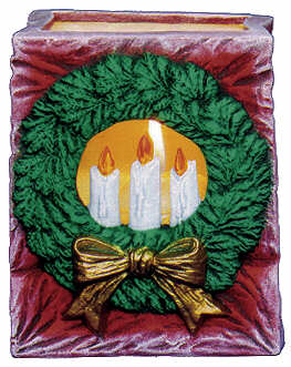 #2492 Christmas Bag - Wreath & Candles  4 1-4