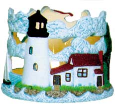 #2514 Candleholder, Lighthouse  (Lid and Base do not fit)  4""