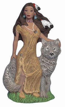 #2643  Indian Maiden with Wolf  6 1-2