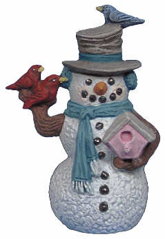 #2655 Snowman Ornament, with Birdhouse and Bird  3