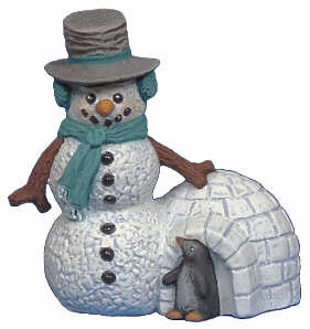 #2660 Snowman Ornament, with Igloo  2 3-4""