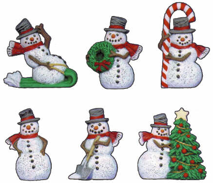#2699 Snowman Magnets (6 in mold) 2 1-2