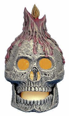 #2711 Skull with Candle Chiminea  7 1-2