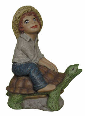#2809 Boy Riding Turtle to Pond  4