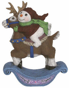 #2958 Snow Kid on Rocking Reindeer  6 3-4""