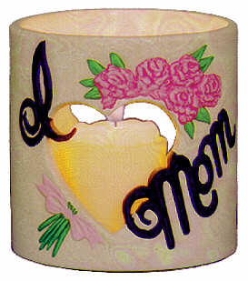 #3051 Candleholder - I (Heart) Mom  4
