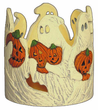 #3068 Candleholder - Ghosts with Pumpkins  4