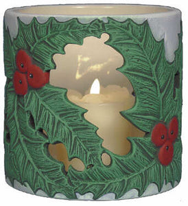 #3084 Candleholder - Holly Leaves  4""