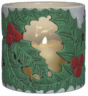 #3084 Candleholder - Holly Leaves  4