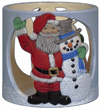#3085 Candleholder - Santa and Snowman Friends  4