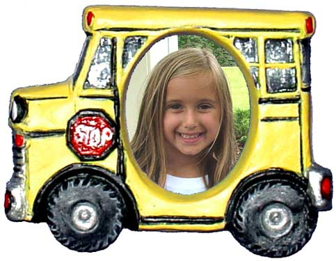 #3422 Photo Frame Magnet or Ornament - School Bus