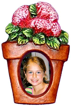 #3436 Photo Frame Magnet or Ornament - Flower Pot