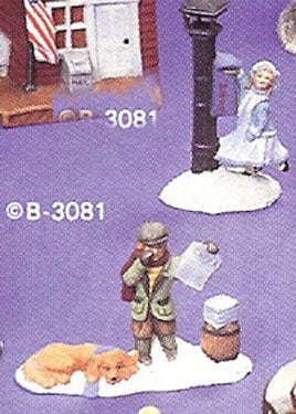 B3081 Village Newsboy & Girl w- Mailbox Ceramic Molds