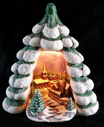 H659ABBD Christmas Tree w-Church Ceramic Mold