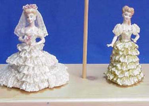 "JM242 5 1-2""-Mini- Narrow & Large Train Skirts only Doll Molds"