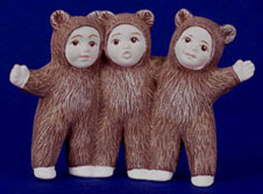 S1464 Three Bear Babies Hugging Ceramic Mold