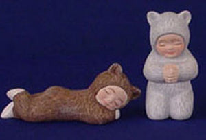 S1465 Two Bear Babies- Sleeping & Praying Ceramic Mold