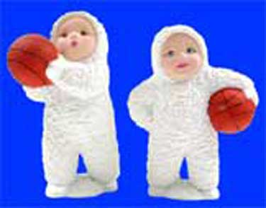 S1495 Two Snow Baby Basketball Players Ceramic Mold