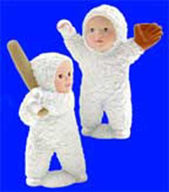 S1496 Two Snow Baby Baseball Players Ceramic Mold