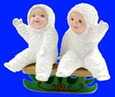 S1499Two Sled Snow Babies Ceramic Mold