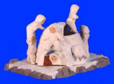 S1509 6 Snow Babies w-Igloo Ceramic Mold