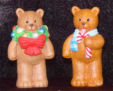 S1565 Bear w-wreath & Bear w-candy cane Ceramic Mold