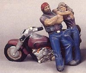 H321AB Motorcycle & Leaning Couple 7x12