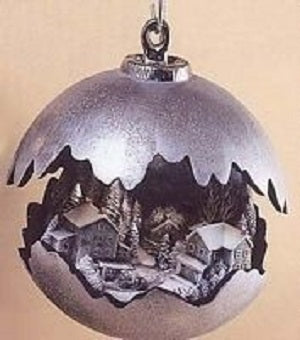 H509ABDH516A Large Round Ornament w-Covered Bridge, horse, sleigh & truck Ceramic Mold