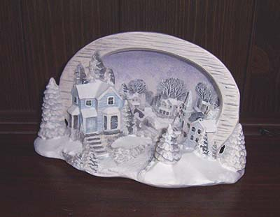 H627ABC Village w-covered bridge Light Scene Ceramic Mold