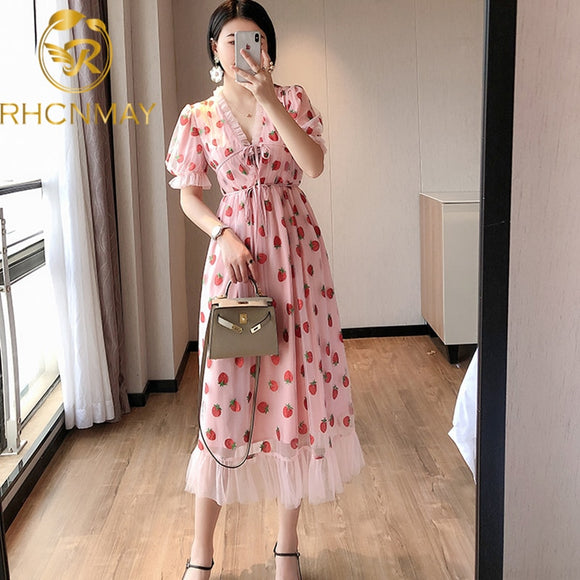 Mid Length Strawberry Dress