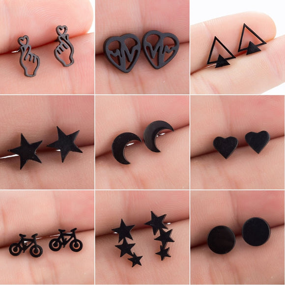 Stainless Steel Assorted Stud Earrings