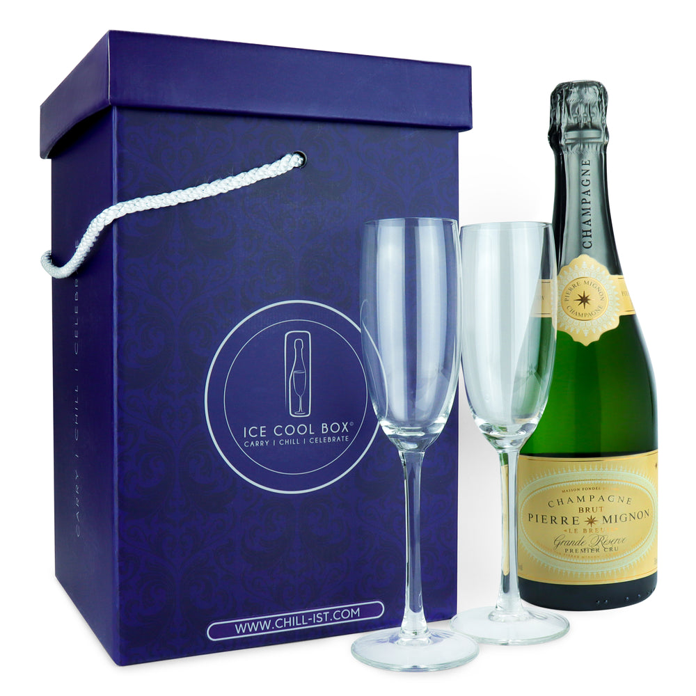 Unique Celebration-to-Go Gift Carrier - Midnight Blue/Silver - with Pierre Mignon Grand Reserve Premier Cru Champagne + 2 or 4 glass flutes in