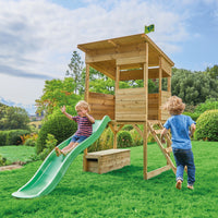 TP Treetops Wooden Tower Playhouse with Toy Box and Slide-FSC<sup>®</sup>