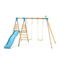 TP Knightswood Double Wooden Swing & Slide Set-FSC<sup>®</sup>