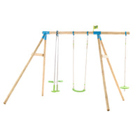 TP Knightswood Triple Wooden Swing Set With Glider And Button Seat-FSC<sup>®</sup>